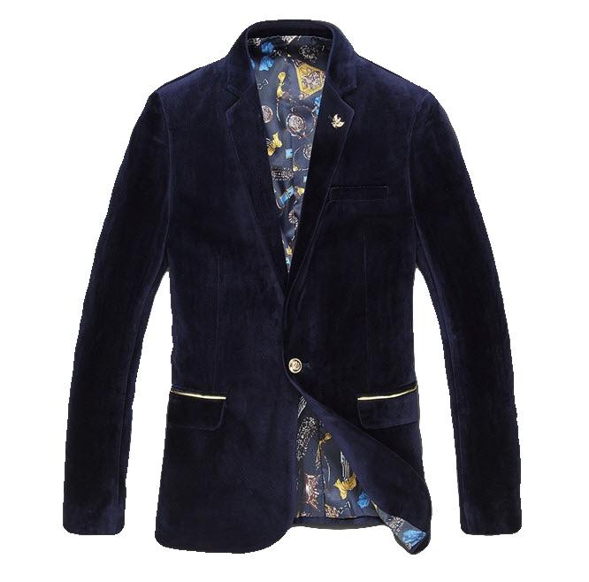 Elegant Navy Blue Golden Emblem Velvet Versatile Sport Coat