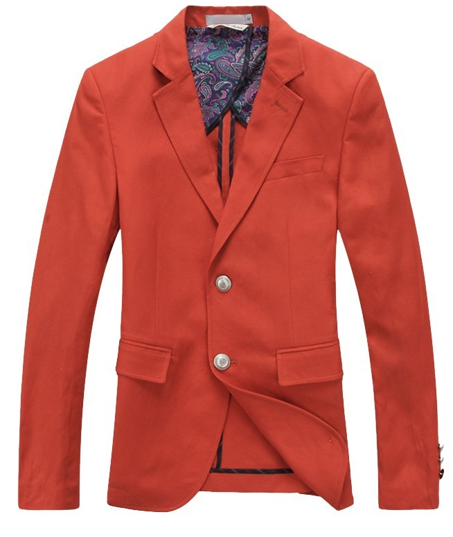 Europe Linen Flax High Quality Red Blazer at PILAEO