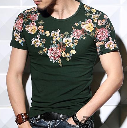 Exclusive Forest Green Floral Print T-shirt of High Quality And ...