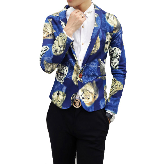 Fashion Design animal Blazer azul na moda