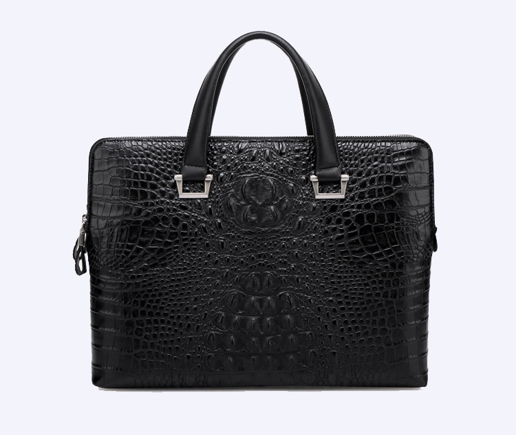 Mode Crocodile conception de serviette de cuir Computer Bag Blac