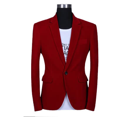 Fashionable Gentlemen Red Velvet Blazer at PILAEO