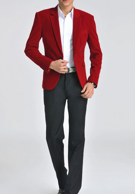 Fashionable Gentlemen Red Velvet Blazer