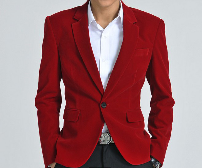 Fashionable Gentlemen Red Velvet Blazer Pilaeo