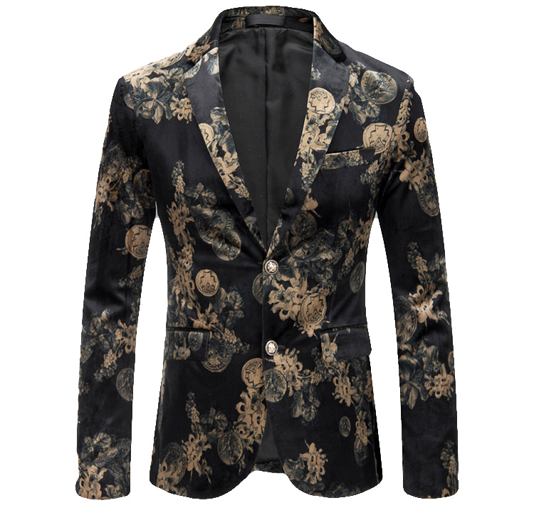 Floral Classical Artwork Black Beige Velvet Blazer Pilaeo