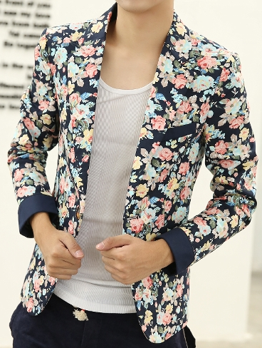 Blumendruck Marineblau PILAEO Multicolor Mode Blazer
