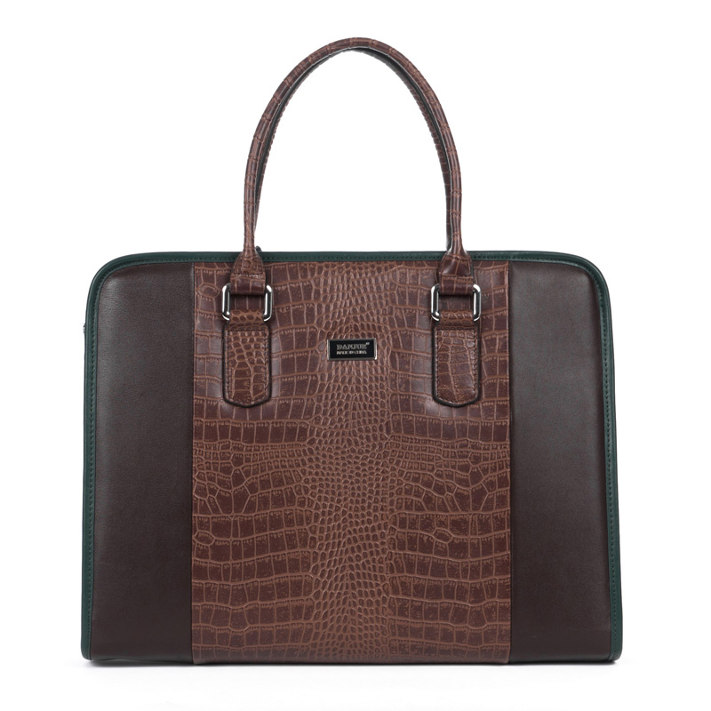 Gentleman Crocodile cuir haut de gamme Business Men Brown Bag