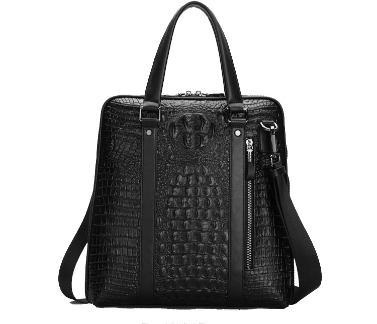 Motif Crocodile Gentleman Laptop Messenger Bag Black luxe
