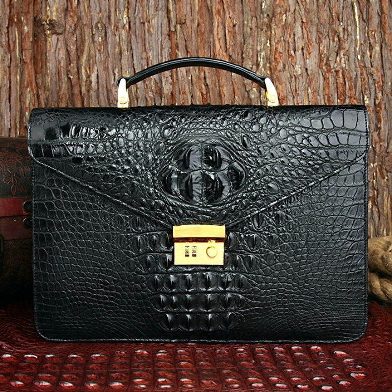 Stunning Gold Trimmed Genuine Crocodile Leather Mens