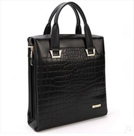 Gentleman Crocodile cuir véritable Porte affaires Bag Black