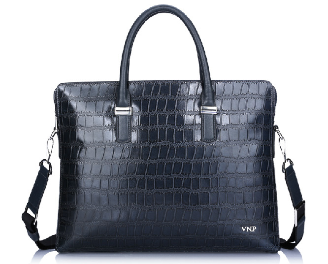 Genuine Shoulder couro de crocodilo Briefcase mexicano Saco azul