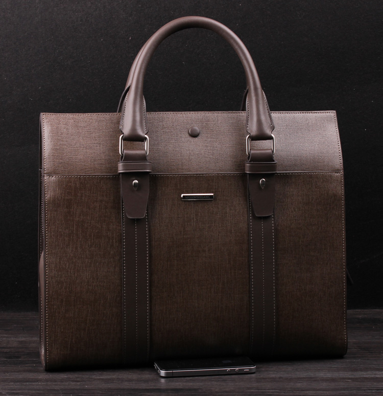 Genuine Leather Business Mens Computer Khakhi Bag