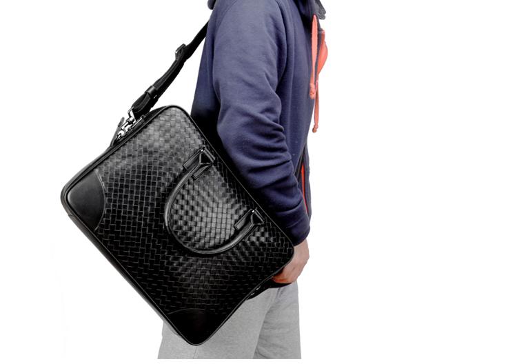 27e7171f9a High-end Business Mens Weave Pattern Black Bag J6YC6Z9GPI
