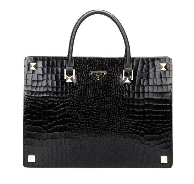 High-End-Business Leather Querschnitt Crocodile schwarze Tasche