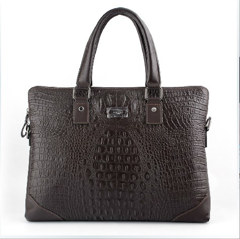 Hochwertige Krokodil Design Leder Mens Brown Bag