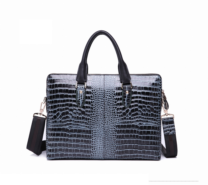 Alto grau de Moda Crocodile Grain Leather Shoulder Bag Azul