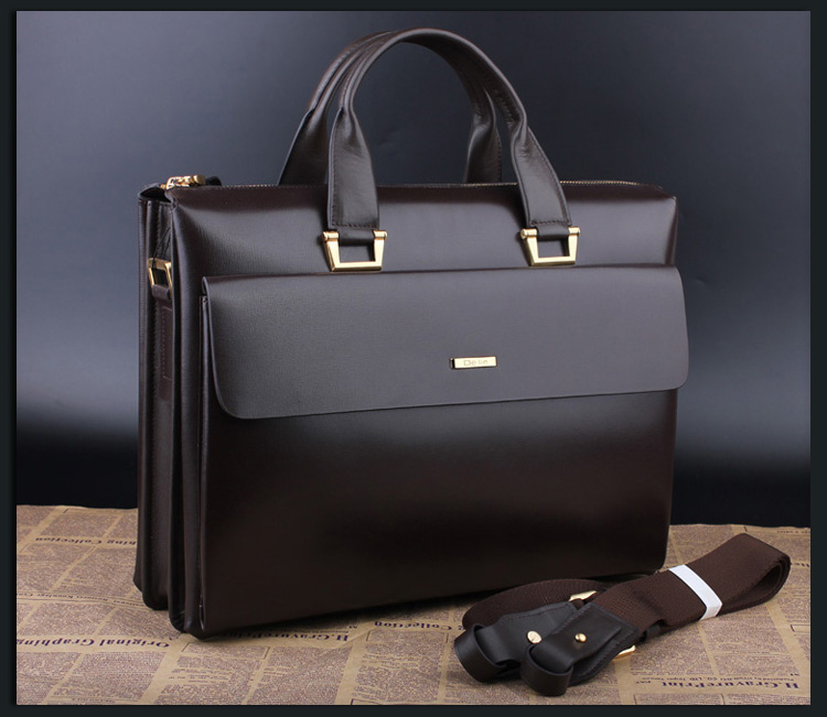 Alto grau Mens Leather grande capacidade Brown Bag RQII16FZPI