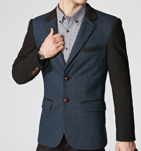 In Style 2 Tone Schwarz, Blau, Casual Fashion Blazer
