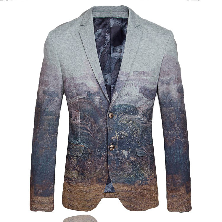 In-Style Classical Art Cinza Blazer