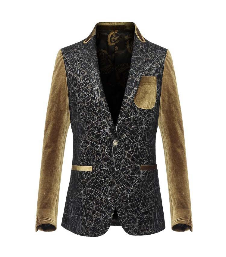 * In Style Art Moderne Tan Velvet manches Blazer