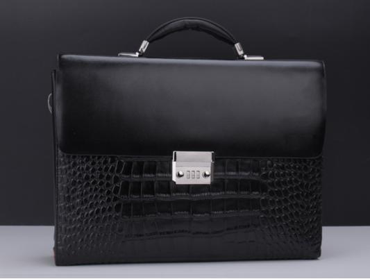 Luxury Elegant Classic Crocodile Leather Mens Laptop Lock Black Bag  x813xfzpi e93b361e8f7a7