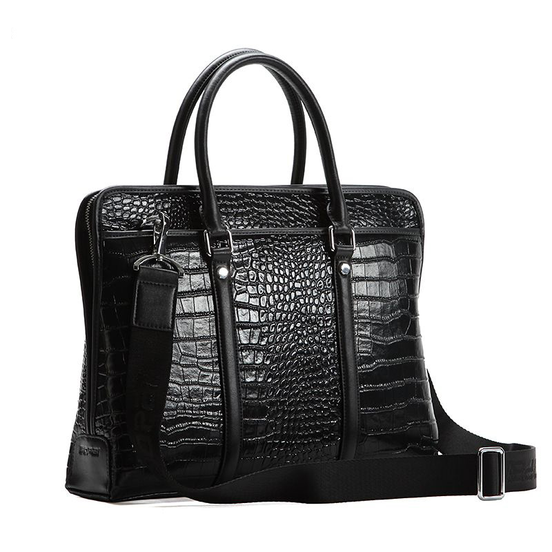 Luxo High-Grade Crocodile Leather Shoulder Computer saco preto