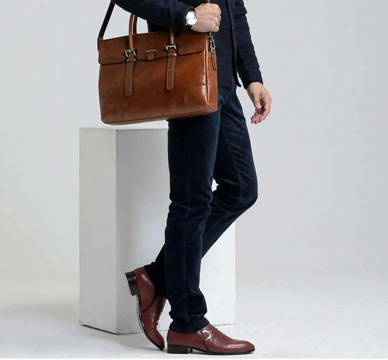 Mens Business Casual Leather Brown Shoulder Bag Zb14m4c8pi