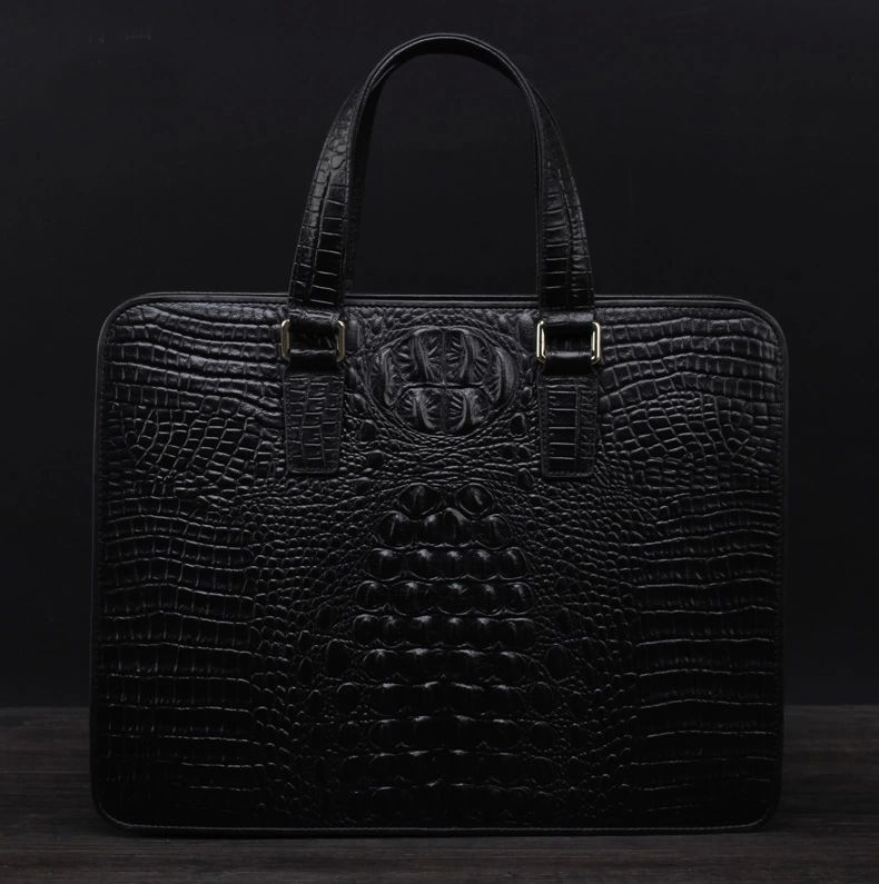 Mens Crocodile High-end Genuine Black Leather Bag BAE3Y3OXPI
