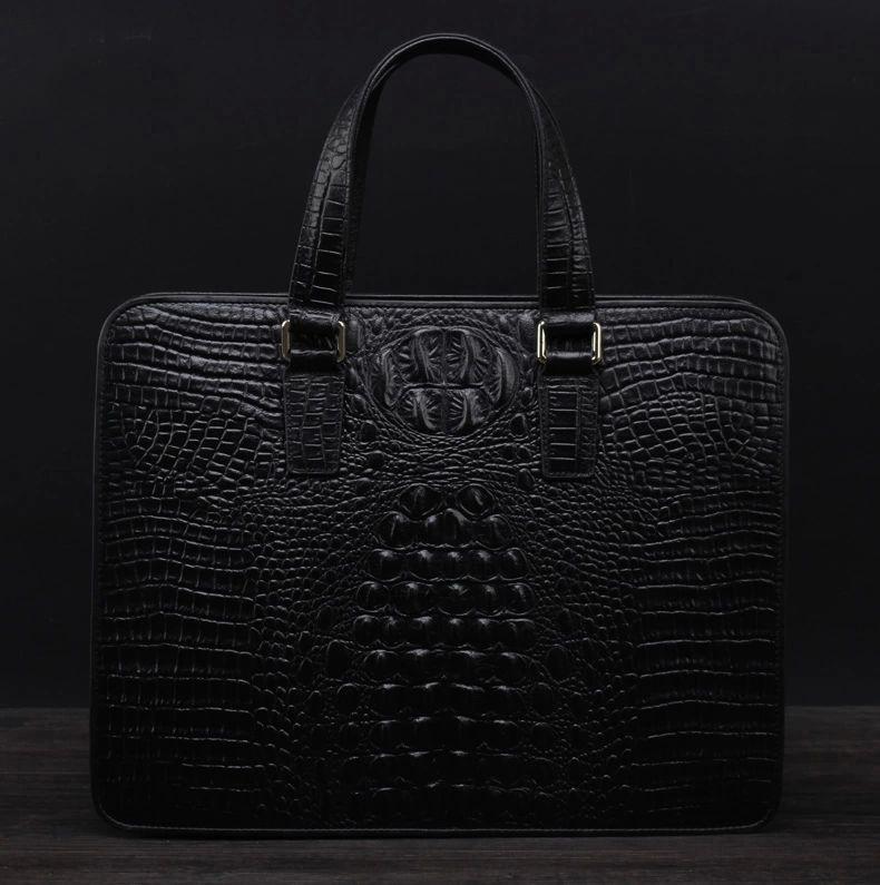Mens Crocodile High-end Genuine Black Leather Bag BAE3Y3OXPI