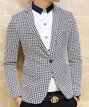 Sophisticated Black White Star Design Blazer Pilaeo