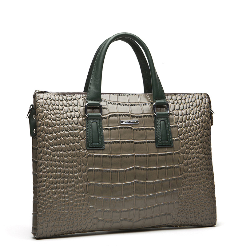 Mens Modern Fashion Crocodile affaires Brown Messenger Bag