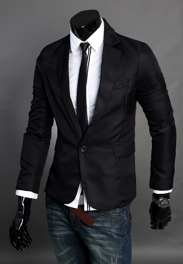 Sophisticated Simple Black Polyester Mistura Blazer