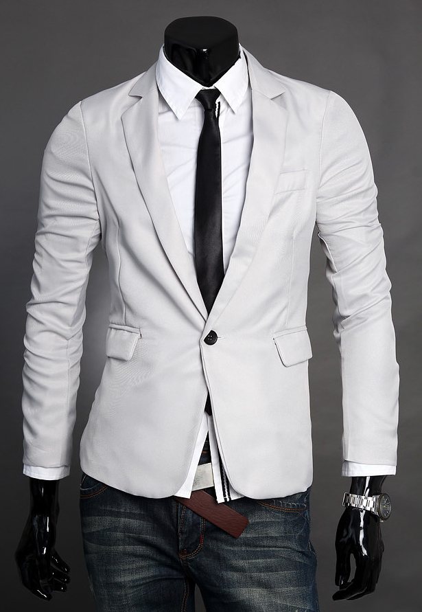 Sophisticated Simples Light Grey Polyester Mistura Blazer