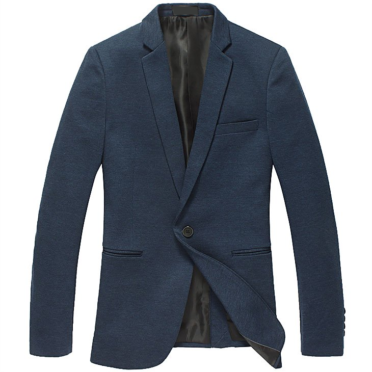Marineblau Single Button Gentleman Blazer