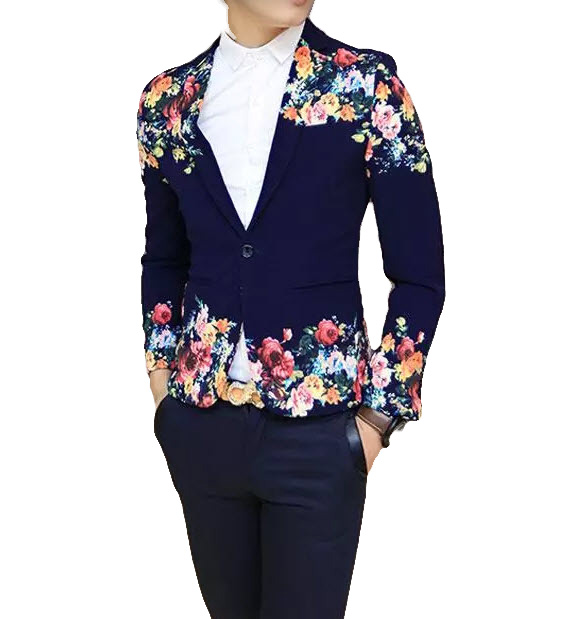 Bleu marine Sleek bouton unique Floral Art Blazer