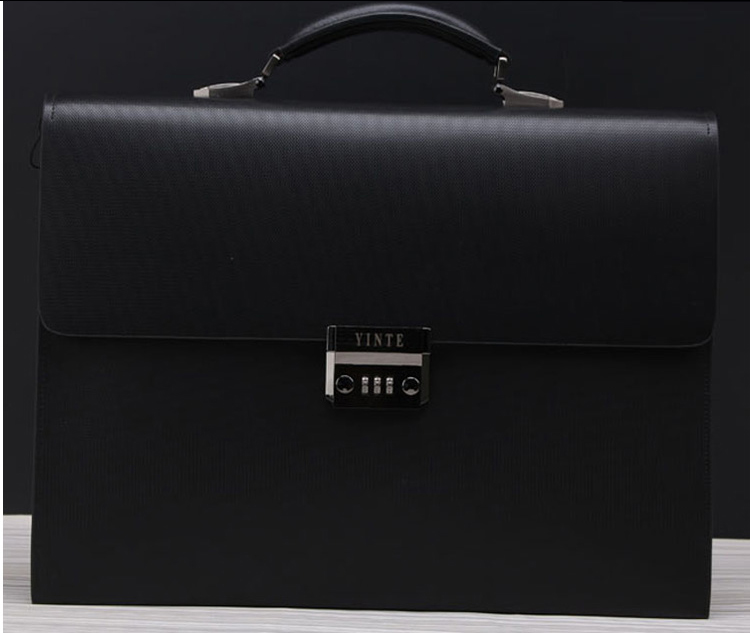 02468ad4d655 PILAEO 2014 Genuine Leather Briefcase Lock Black Bag FF6XGV4EPI