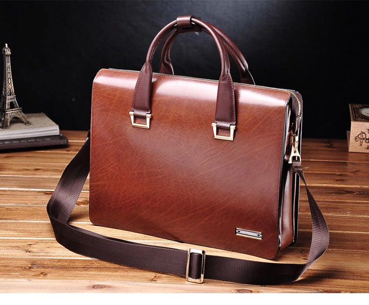 c4c89fb76f PILAEO Attractive Genuine Mens Leather Business Brown Bag 67MNTA