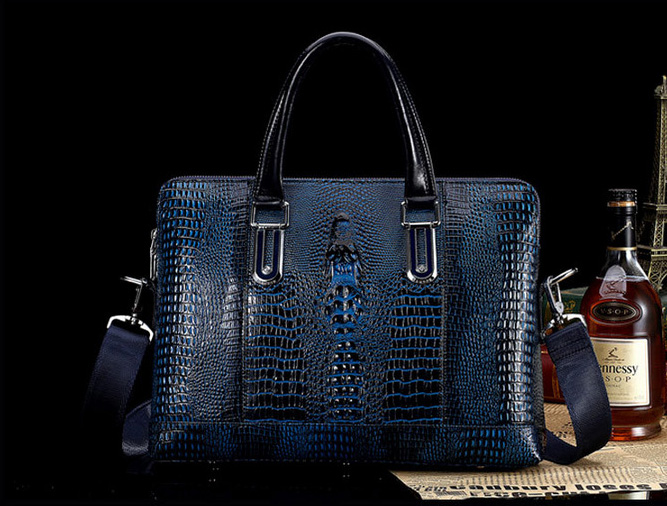 Alligator prime de serviette de cuir Messenger Bag Grand Bleu