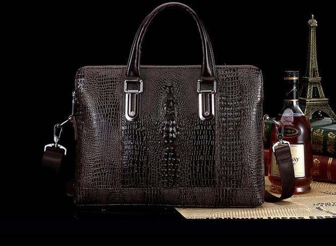 Alligator prime de serviette de cuir Messenger Bag Grand Brown