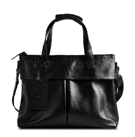 Cuir Premium Business section porte-documents noir sac vertical