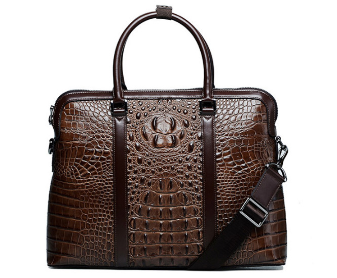 Crocodile brown briefcase