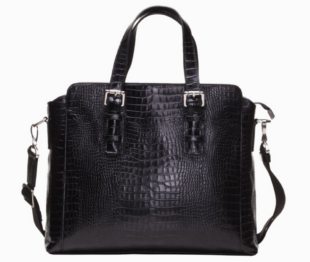 Premium authentique italienne Crocodile affaires Mens Bag Black