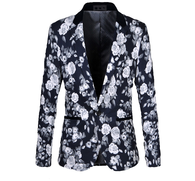 navy blue mens floral blazer