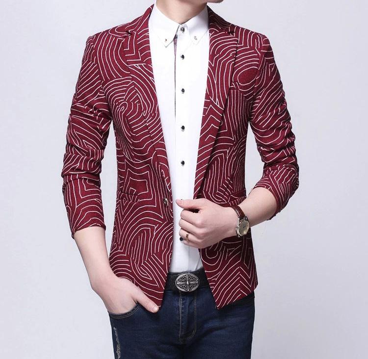 Red Curved Lines Stylish Blazer Pilaeo