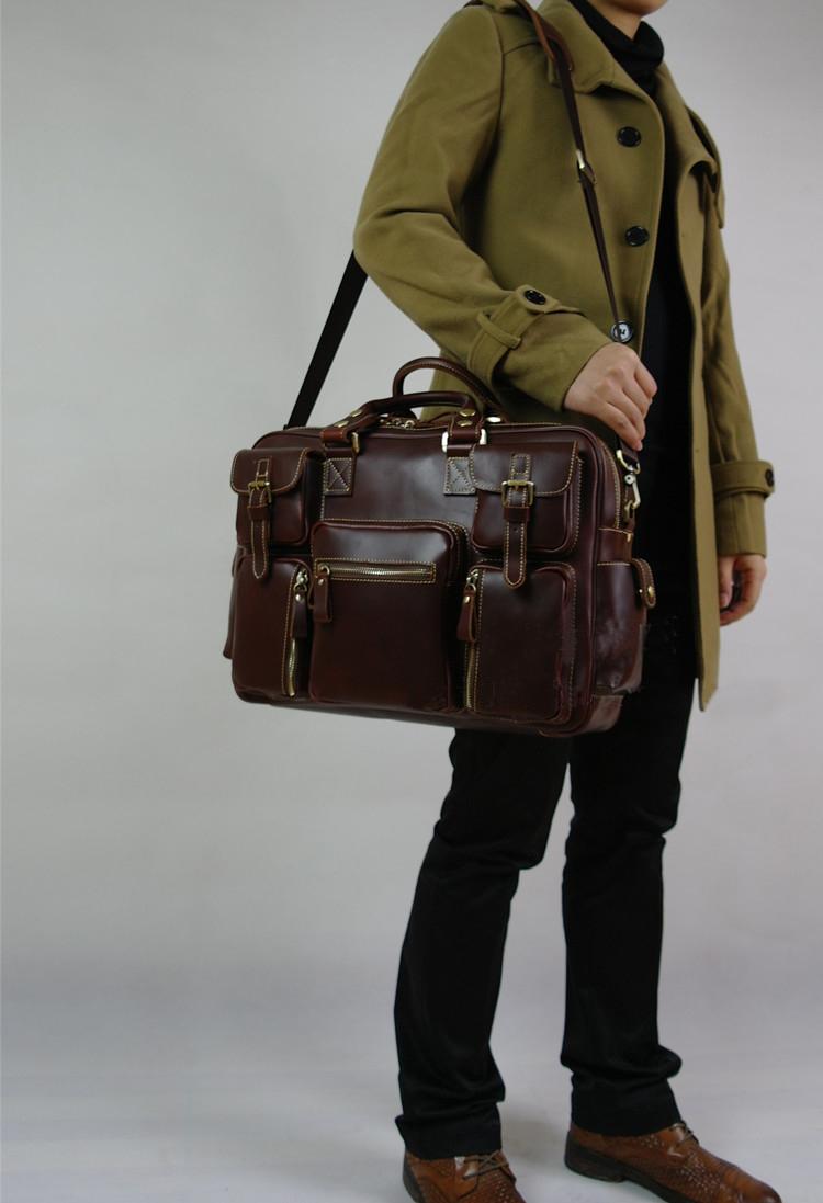 88ec36036f PILAEO HIGH END Handmade Leather Satchel Brown Leather Bag YWB08