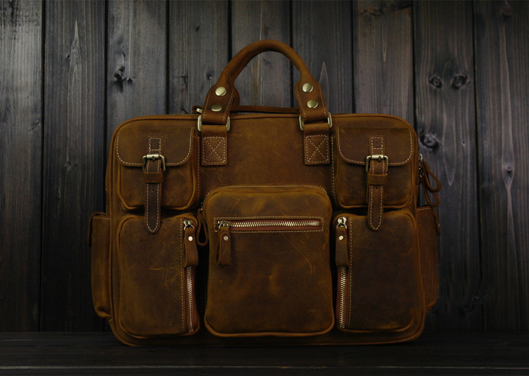 PILAEO ALTA END Handmade Leather Satchel fosco Brown Leather B