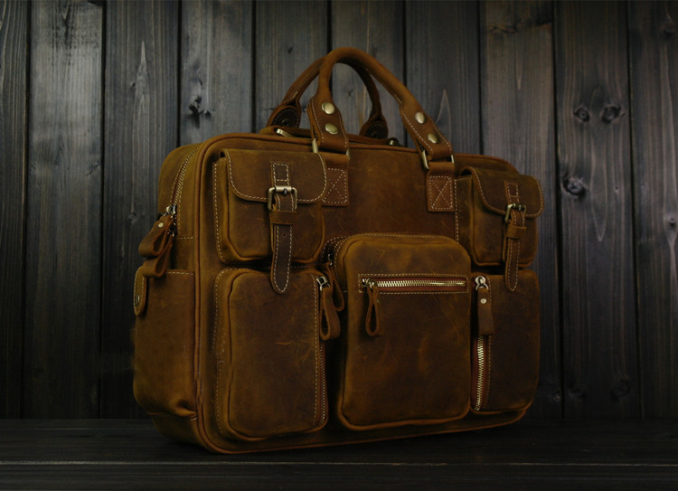 PILAEO HIGH END Handmade Leather Satchel Frosted Brown Leather B   TU89GWJ4PI  1718e9032cc79