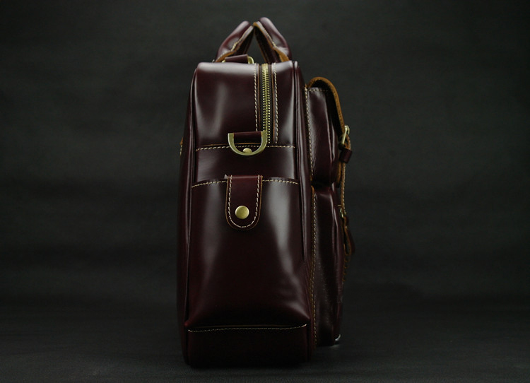 PILAEO HIGH END Handmade Leather Satchel Wine Red Leather Bag CY   CYFRZRPLPI  140d7115d4acc