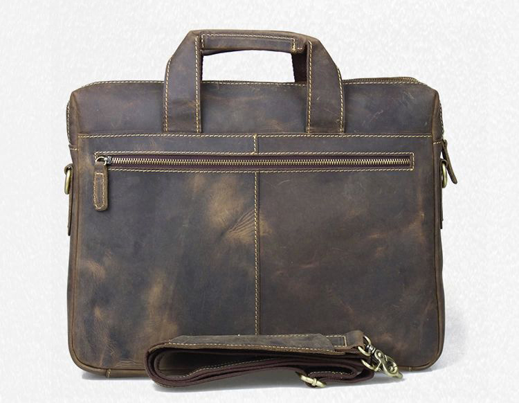PILAEO HIGH END Leder Aktentasche Messenger Handtasche Brown Bag