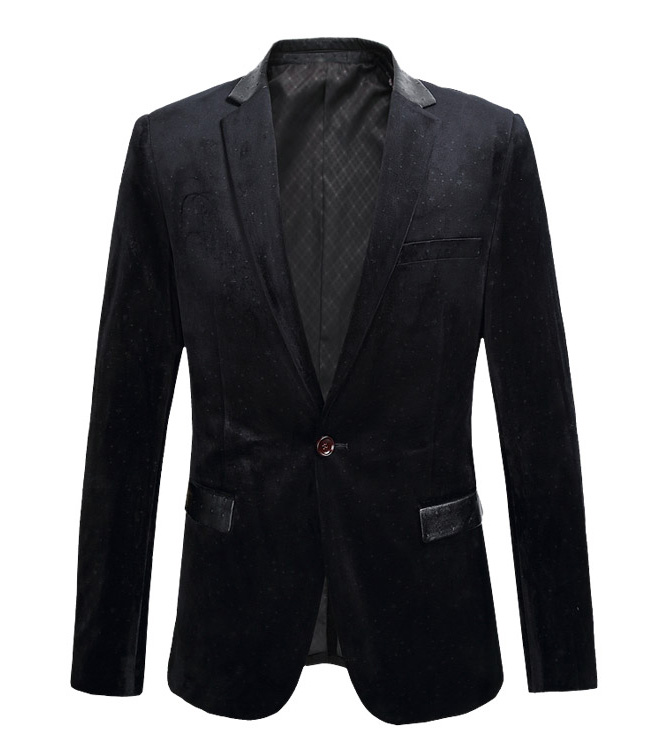 * Sleek Black Velvet Blazer mit High-End-Lederausstattung